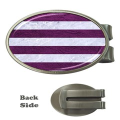 Stripes2white Marble & Purple Leather Money Clips (oval)  by trendistuff