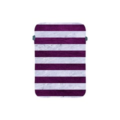 Stripes2white Marble & Purple Leather Apple Ipad Mini Protective Soft Cases by trendistuff