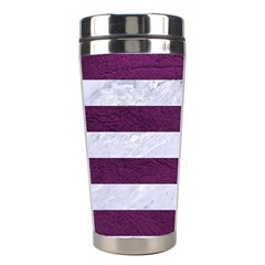 Stripes2white Marble & Purple Leather Stainless Steel Travel Tumblers by trendistuff