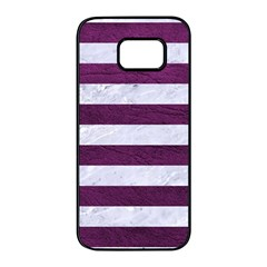 Stripes2white Marble & Purple Leather Samsung Galaxy S7 Edge Black Seamless Case by trendistuff