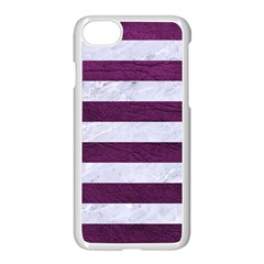 Stripes2white Marble & Purple Leather Apple Iphone 7 Seamless Case (white) by trendistuff