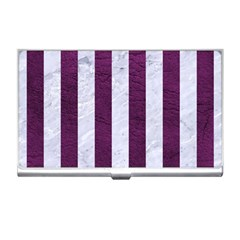 Stripes1 White Marble & Purple Leather Business Card Holders by trendistuff