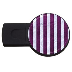 Stripes1 White Marble & Purple Leather Usb Flash Drive Round (2 Gb) by trendistuff