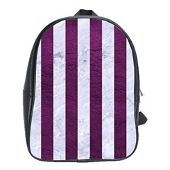 Stripes1 White Marble & Purple Leather School Bag (large)