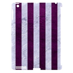 Stripes1 White Marble & Purple Leather Apple Ipad 3/4 Hardshell Case (compatible With Smart Cover) by trendistuff