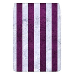 Stripes1 White Marble & Purple Leather Flap Covers (l)  by trendistuff