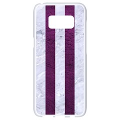 Stripes1 White Marble & Purple Leather Samsung Galaxy S8 White Seamless Case by trendistuff