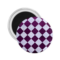 Square2 White Marble & Purple Leather 2 25  Magnets by trendistuff