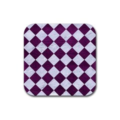 Square2 White Marble & Purple Leather Rubber Square Coaster (4 Pack)  by trendistuff