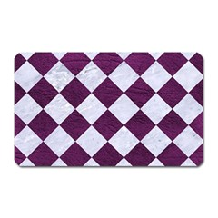 Square2 White Marble & Purple Leather Magnet (rectangular) by trendistuff