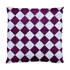 Square2 White Marble & Purple Leather Standard Cushion Case (one Side) by trendistuff