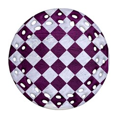 Square2 White Marble & Purple Leather Ornament (round Filigree) by trendistuff
