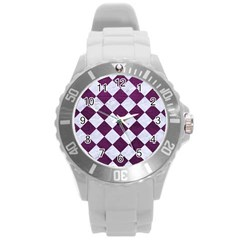 Square2 White Marble & Purple Leather Round Plastic Sport Watch (l) by trendistuff