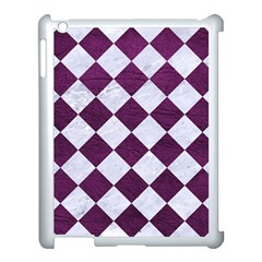 Square2 White Marble & Purple Leather Apple Ipad 3/4 Case (white) by trendistuff