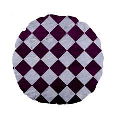 Square2 White Marble & Purple Leather Standard 15  Premium Round Cushions by trendistuff