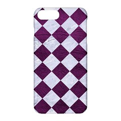 Square2 White Marble & Purple Leather Apple Iphone 8 Plus Hardshell Case by trendistuff
