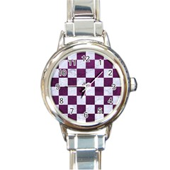 Square1 White Marble & Purple Leather Round Italian Charm Watch by trendistuff