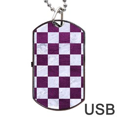 Square1 White Marble & Purple Leather Dog Tag Usb Flash (one Side) by trendistuff