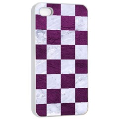 Square1 White Marble & Purple Leather Apple Iphone 4/4s Seamless Case (white) by trendistuff