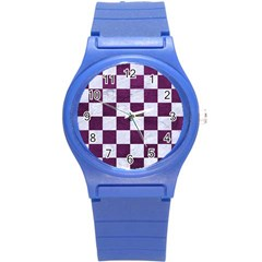 Square1 White Marble & Purple Leather Round Plastic Sport Watch (s) by trendistuff