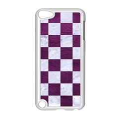 Square1 White Marble & Purple Leather Apple Ipod Touch 5 Case (white) by trendistuff