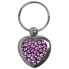Skin5 White Marble & Purple Leather (r) Key Chains (heart)  by trendistuff