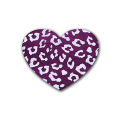Skin5 White Marble & Purple Leather (r) Heart Coaster (4 Pack)