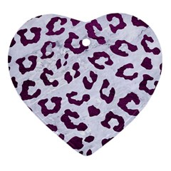 Skin5 White Marble & Purple Leather Heart Ornament (two Sides) by trendistuff