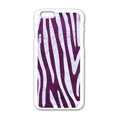 Skin4 White Marble & Purple Leather (r) Apple Iphone 6/6s White Enamel Case by trendistuff