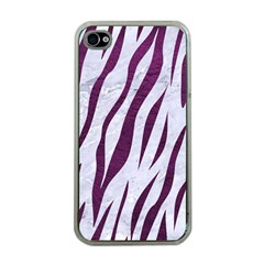Skin3 White Marble & Purple Leather (r) Apple Iphone 4 Case (clear) by trendistuff