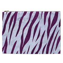 Skin3 White Marble & Purple Leather (r) Cosmetic Bag (xxl)