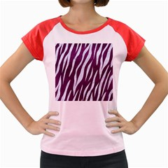 Skin3 White Marble & Purple Leather Women s Cap Sleeve T Shirt