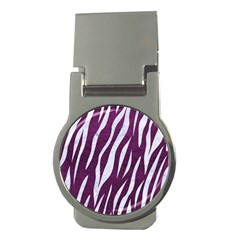 Skin3 White Marble & Purple Leather Money Clips (round)  by trendistuff