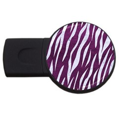Skin3 White Marble & Purple Leather Usb Flash Drive Round (2 Gb) by trendistuff