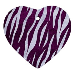 Skin3 White Marble & Purple Leather Heart Ornament (two Sides) by trendistuff
