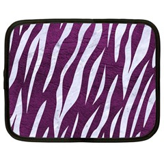 Skin3 White Marble & Purple Leather Netbook Case (large) by trendistuff