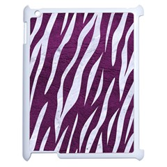 Skin3 White Marble & Purple Leather Apple Ipad 2 Case (white) by trendistuff