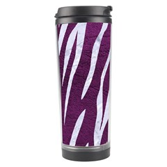 Skin3 White Marble & Purple Leather Travel Tumbler by trendistuff