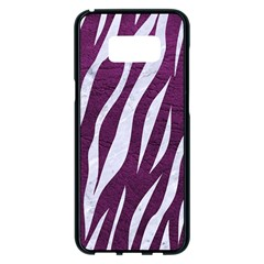 Skin3 White Marble & Purple Leather Samsung Galaxy S8 Plus Black Seamless Case