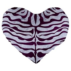 Skin2 White Marble & Purple Leather (r) Large 19  Premium Heart Shape Cushions by trendistuff