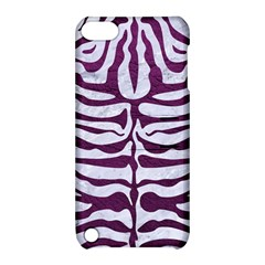 Skin2 White Marble & Purple Leather (r) Apple Ipod Touch 5 Hardshell Case With Stand by trendistuff