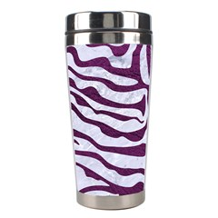 Skin2 White Marble & Purple Leather (r) Stainless Steel Travel Tumblers by trendistuff