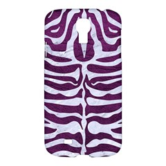 Skin2 White Marble & Purple Leather Samsung Galaxy S4 I9500/i9505 Hardshell Case by trendistuff