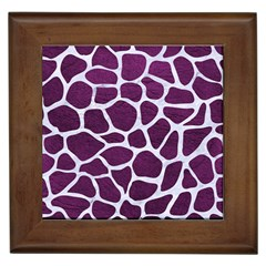 Skin1 White Marble & Purple Leather (r) Framed Tiles