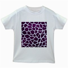 Skin1 White Marble & Purple Leather (r) Kids White T Shirts