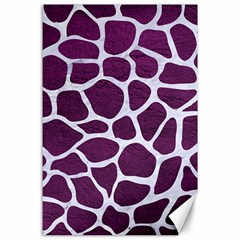 Skin1 White Marble & Purple Leather (r) Canvas 24  X 36  by trendistuff