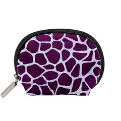 Skin1 White Marble & Purple Leather (r) Accessory Pouches (small)  by trendistuff