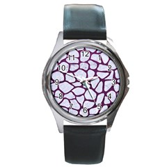 Skin1 White Marble & Purple Leather Round Metal Watch by trendistuff