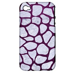 Skin1 White Marble & Purple Leather Apple Iphone 4/4s Hardshell Case (pc+silicone) by trendistuff