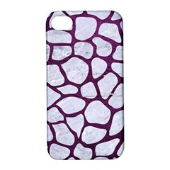 Skin1 White Marble & Purple Leather Apple Iphone 4/4s Hardshell Case With Stand by trendistuff